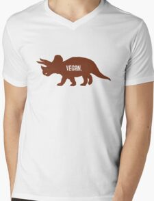 Triceratops Love Veggies Mens V-Neck T-Shirt
