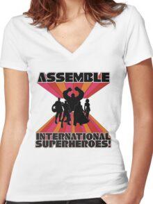 International Superheroes Women's Fitted V-Neck T-Shirt