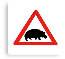 Beware of Hippopotamuses, Traffic, South Africa Canvas Print