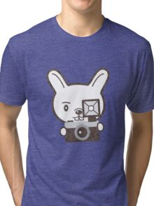 Cute Photographer Rabbit Tri-blend T-Shirt