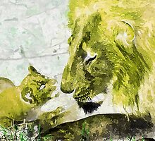 Wild nature - lions by Wiedzminka