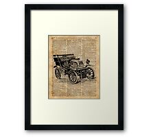 Classic Old Car,Vintage Vehicle,Antique Machine Dictionary Art Framed Print