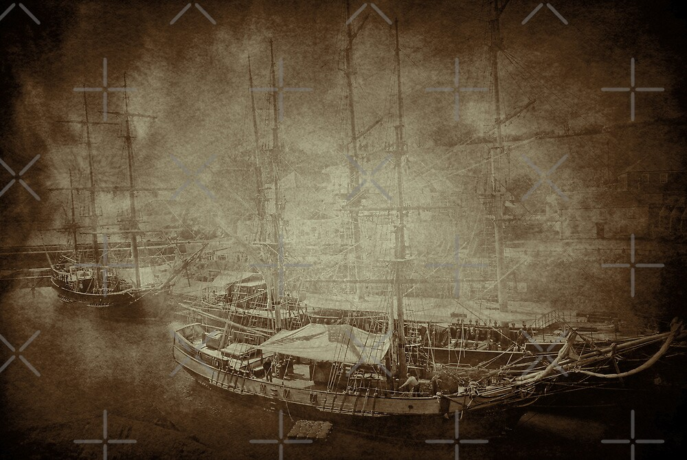 Tall Ships in Sepia by Catherine Hamilton-Veal  ©