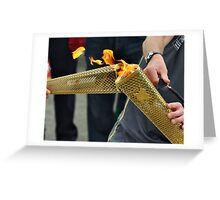 close up olympic torch Greeting Card