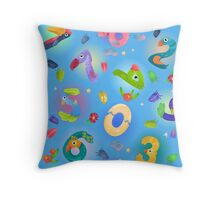 Pattern from numbers like birds in fairy style Throw Pillow