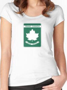 Nova Scotia, Trans-Canada Highway Sign Women's Fitted Scoop T-Shirt