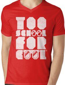 Too School For Cool (White) Mens V-Neck T-Shirt
