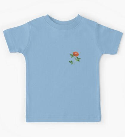 Vintage Red Rose Isolated on White Kids Tee