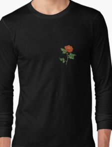 Vintage Red Rose Isolated on White Long Sleeve T-Shirt