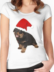 Cute Merry Christmas Puppy In Santa Hat Women's Fitted Scoop T-Shirt