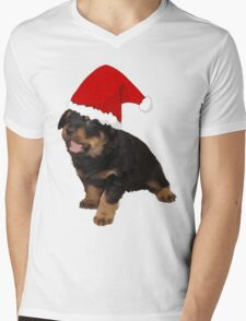 Cute Merry Christmas Puppy In Santa Hat Mens V-Neck T-Shirt