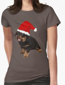 Cute Merry Christmas Puppy In Santa Hat Womens Fitted T-Shirt