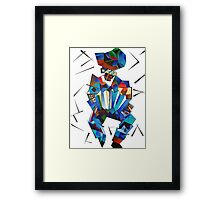 Cubist Portrait of Accordian Player Isolated on White Framed Print