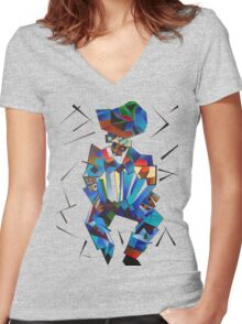 Cubist Portrait of Accordian Player Isolated on White Women's Fitted V-Neck T-Shirt