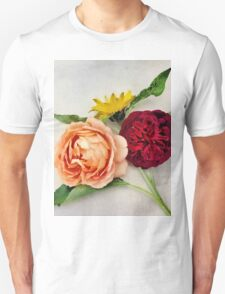 Sunflower and Roses Watercolor T-Shirt