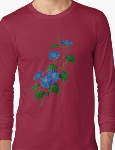 Blue Bindweed Isolated on White Long Sleeve T-Shirt