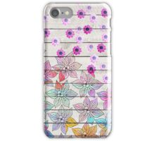 Vintage white rustic wood pink watercolor floral  iPhone Case/Skin