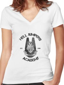 halo hell jumpers academy Women's Fitted V-Neck T-Shirt