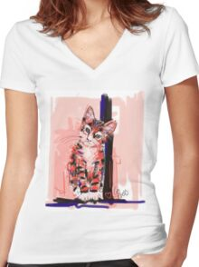 Cat I see you Women's Fitted V-Neck T-Shirt