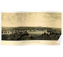 Panoramic Maps Highland Ill Poster