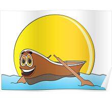 Brown Row Boat Cartoon Poster