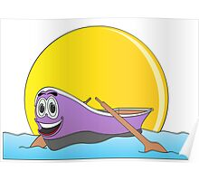 Purple Row Boat Cartoon Poster