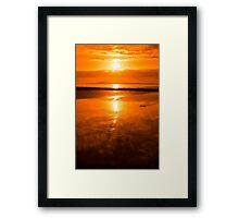 sunset and calm reflections at beal beach Framed Print