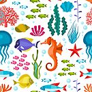 Colorful Marine Life And Animals Seamless Pattern by artonwear