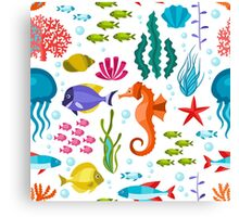 Colorful Marine Life And Animals Seamless Pattern Canvas Print