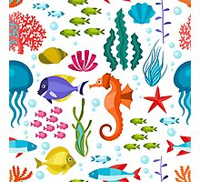 Colorful Marine Life And Animals Seamless Pattern Photographic Print
