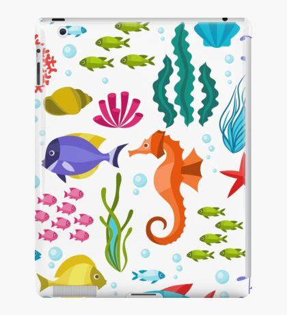 Colorful Marine Life And Animals Seamless Pattern iPad Case/Skin