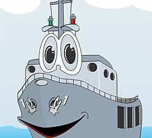 Navy Ship Cartoon by Graphxpro