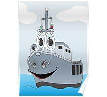 Navy Ship Cartoon Poster