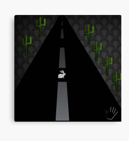 """Rabbit in the Road""  dark grunge weird city highway art Canvas Print"