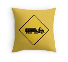 Logging Truck Warning, Traffic Warning Sign, Australia Throw Pillow