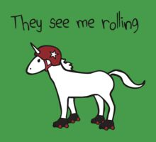 They See Me Rolling - Roller Derby Unicorn One Piece - Short Sleeve