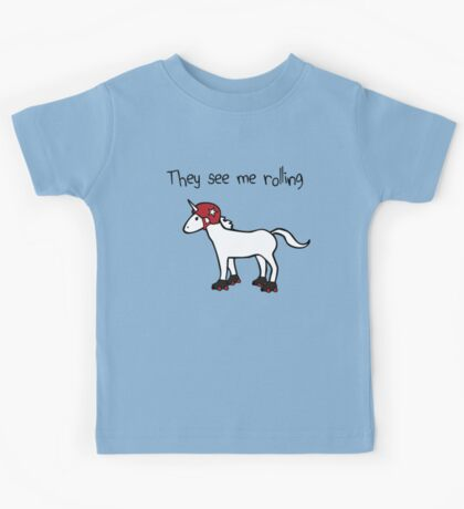 They See Me Rolling - Roller Derby Unicorn Kids Tee