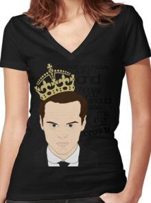 You should see Moriarty in a crown Women's Fitted V-Neck T-Shirt