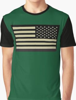 AMERICAN ARMY, Soldier, American Military, Arm Flag, US Military, IR, Infrared, USA, Flag, Reverse side flag, on BLACK Graphic T-Shirt