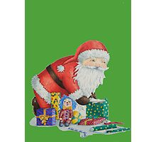 Cute santa and toys wrapping Christmas gifts Photographic Print