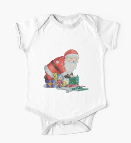 Cute santa and toys wrapping Christmas gifts One Piece - Short Sleeve
