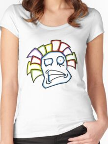 Retro Tiki Mask Smirk Women's Fitted Scoop T-Shirt
