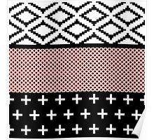 Elegant Pink, White, & Black Modern Geometric Poster