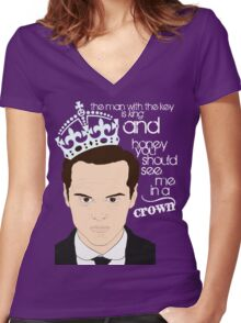 You should see Moriarty in a crown 2 Women's Fitted V-Neck T-Shirt
