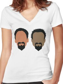 Evil Troy and Evil Abed Women's Fitted V-Neck T-Shirt