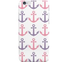 Nautical Pink Purple White Heart Anchors Pattern iPhone Case/Skin