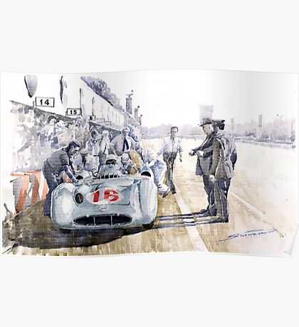 1955 Mercedes Benz W 196 STR Stirling Moss Italian GP Monza Poster