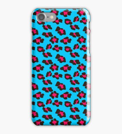 Neon Blue Leopard Print  iPhone Case/Skin