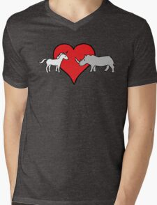 Unicorn Loves Rhino Mens V-Neck T-Shirt
