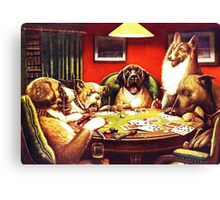 Dogs Playing Poker Vintage postcard Canvas Print